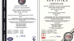 Fors Teknoloji ISO 9001:2008 Kalite Yönetim Belgesini aldı.